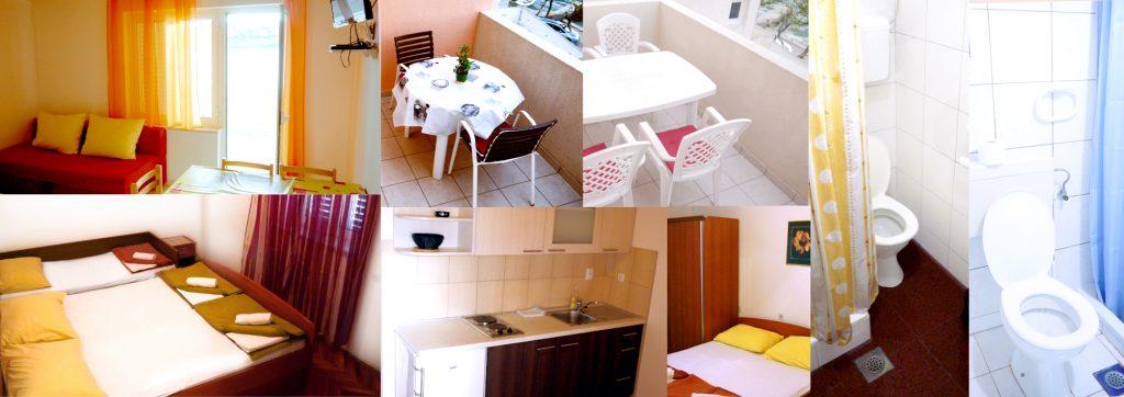 Duży apartament dla nawet 7 osób. W środku: dwie łazienki, dwa tarasy, kuchnia, internet, klimatyzacja.